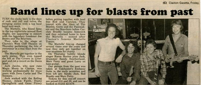 Newspaper clipping from Clacton Gazette